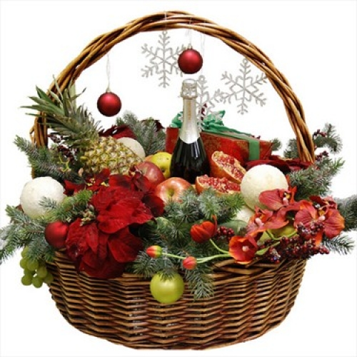 Как собрать новогоднюю корзину с подарками своими